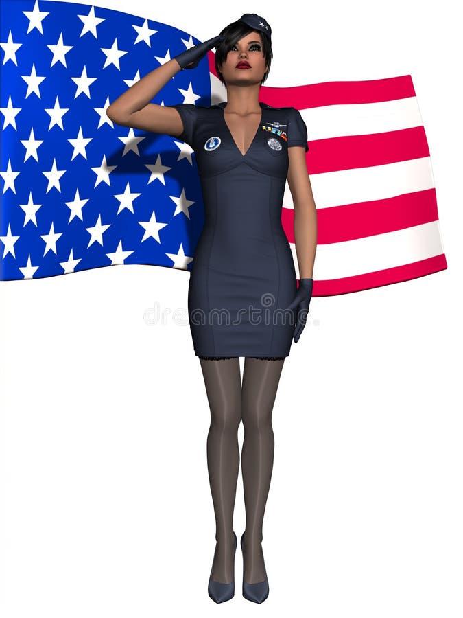 dziewczyna wojskowy ilustracja wektor