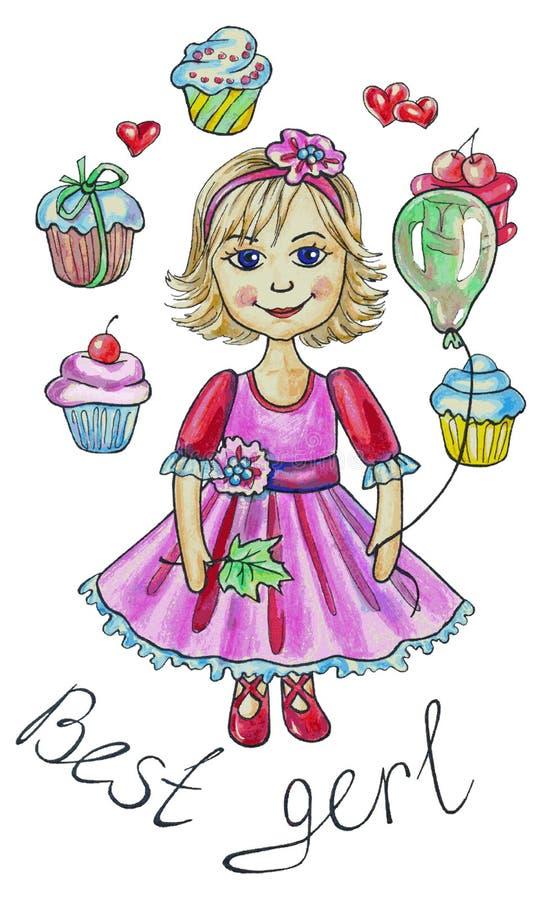 Dziewczyna wokoło tortów royalty ilustracja