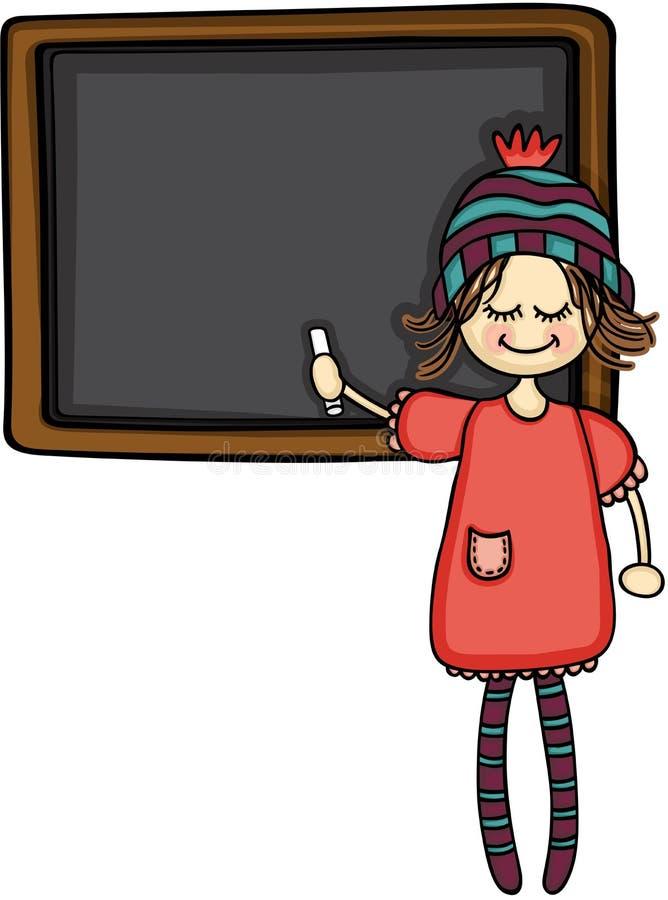 Dziewczyna wskazuje blackboard z kredą ilustracji
