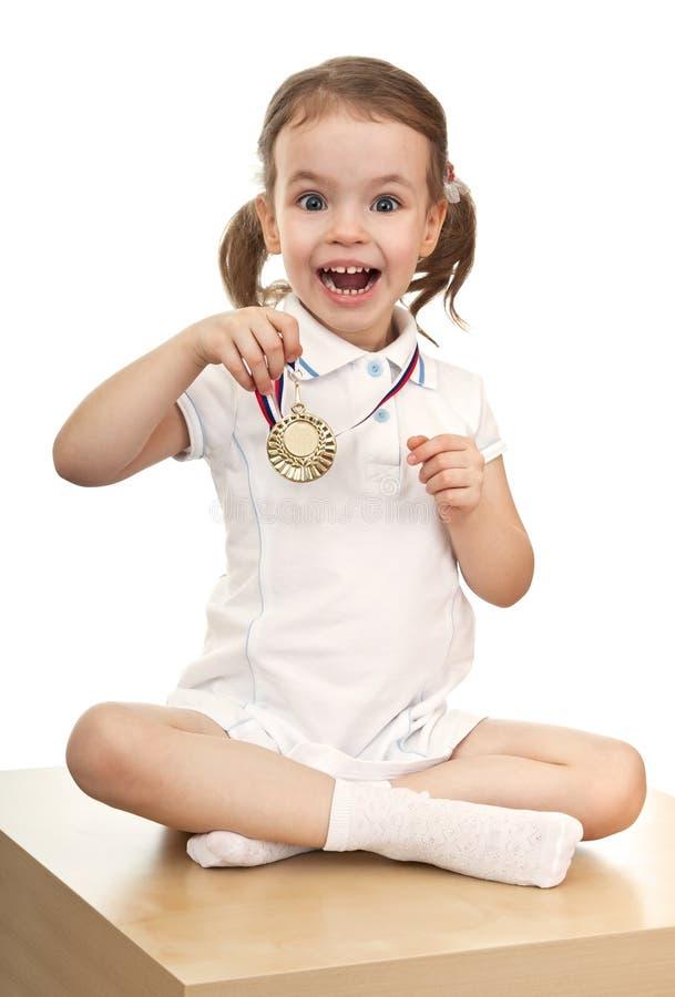 dziewczyna złoty medal zdjęcie stock