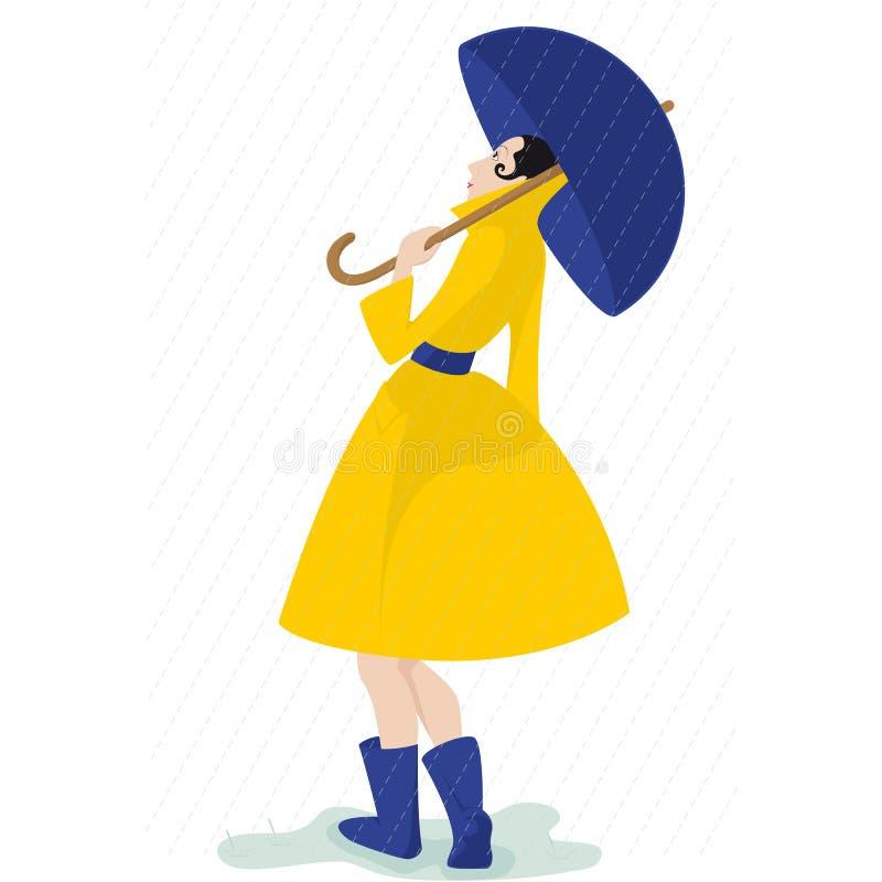Dziewczyna z żółtym deszczowem