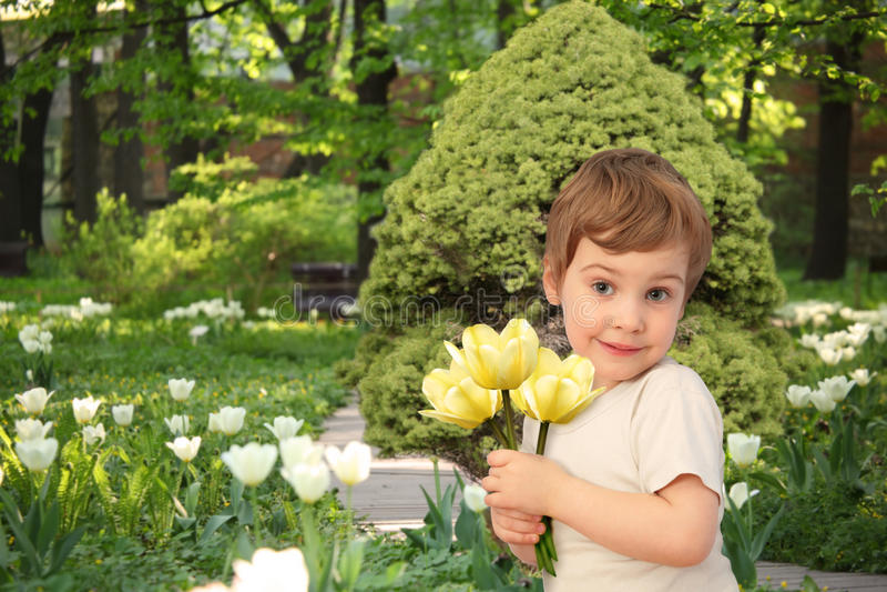 Dziewczyna z żółtymi tulipanami w parku, kolaż fotografia royalty free