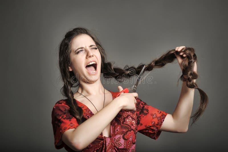 Dziewczyna z bardzo długie włosy obraz stock