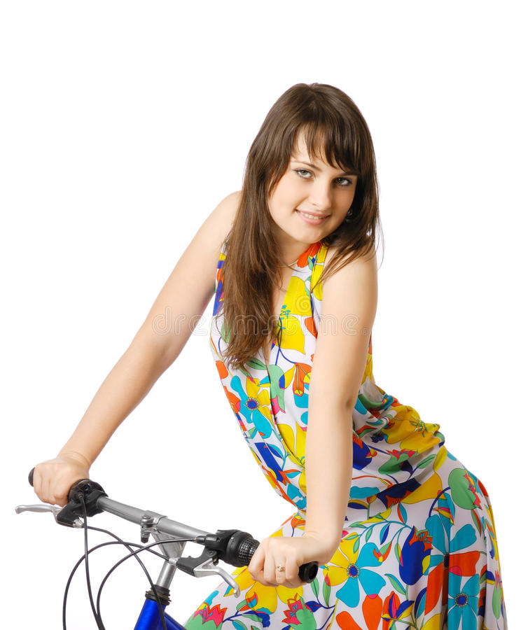 Dziewczyna z bicyklem zdjęcie royalty free