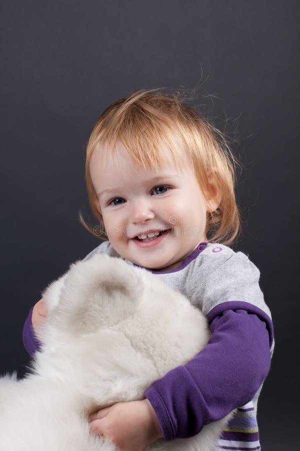 Dziewczyna z boże narodzenie zabawką zdjęcie stock