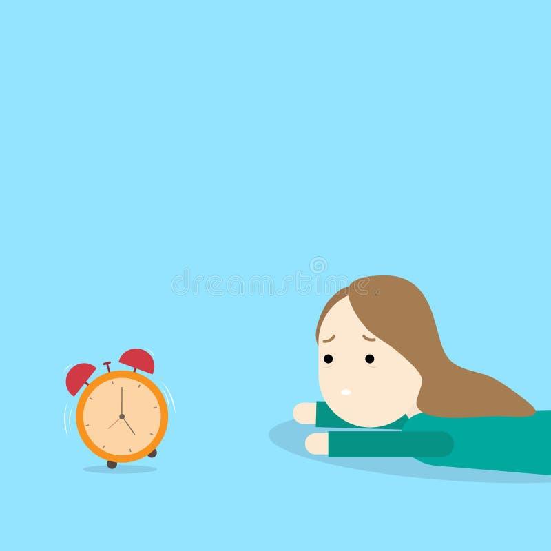 Dziewczyna z budzikiem Rano Wstawaj wcześnie royalty ilustracja
