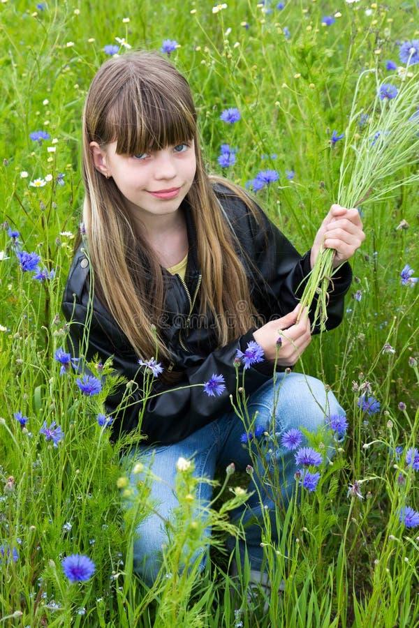 Dziewczyna z chabrowym zdjęcia royalty free