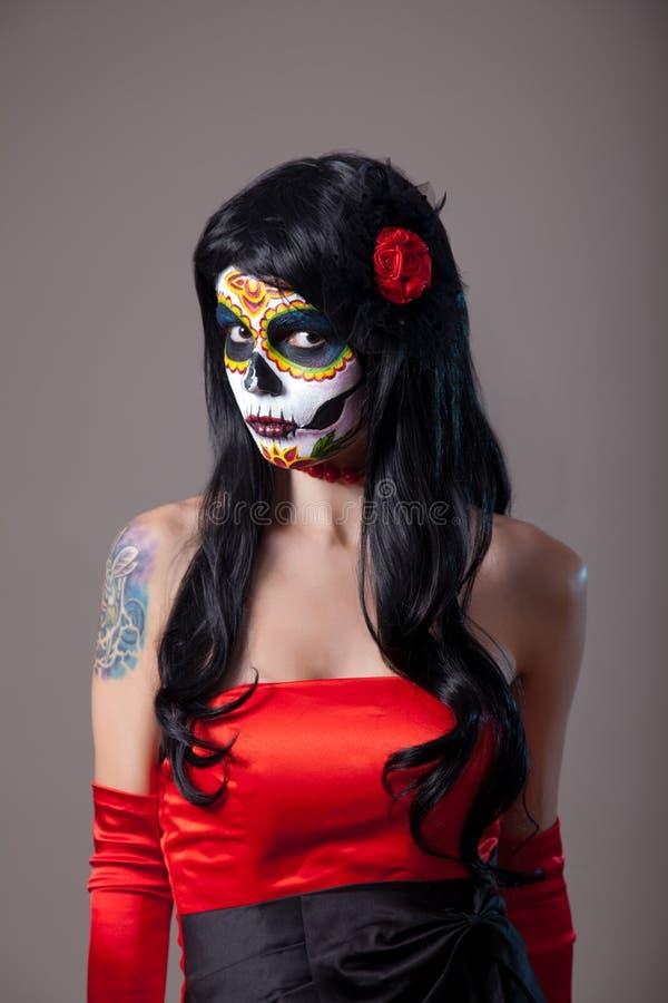 Dziewczyna z cukrowym czaszki makeup obrazy stock