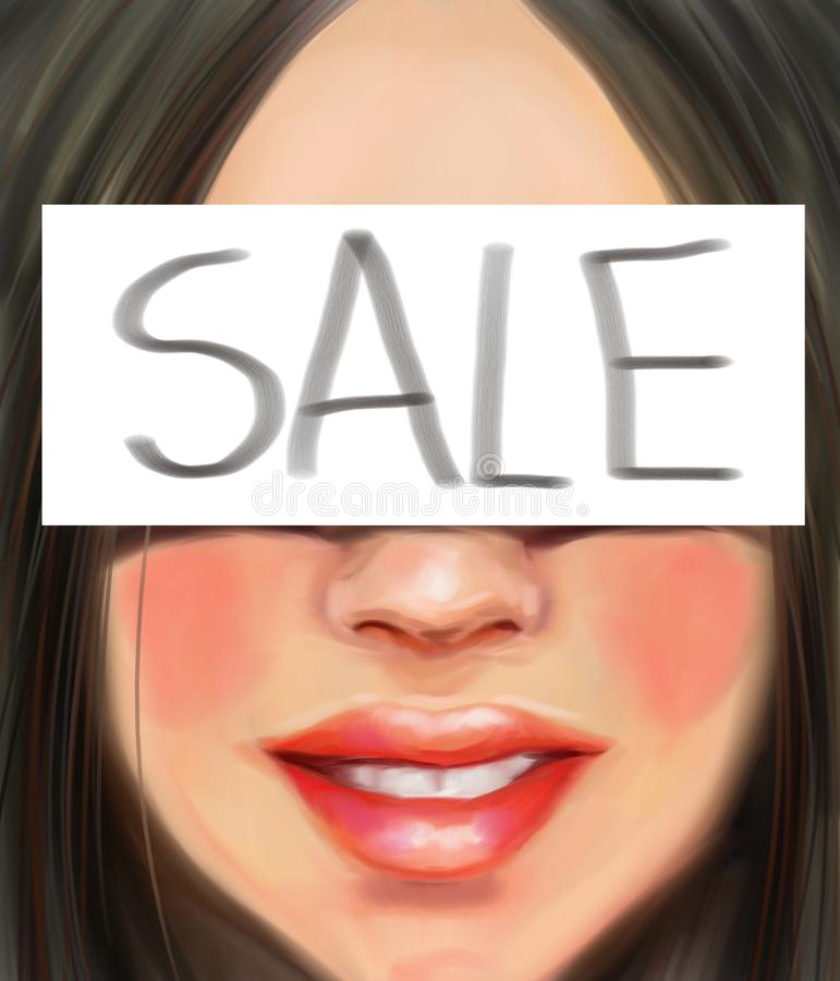Dziewczyna z czarni włosy z inskrypcją jest sprzedażą w stylu obrazu olejnego zdjęcia stock