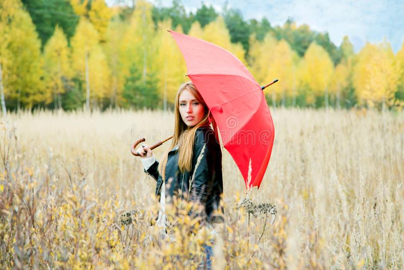 Dziewczyna z czerwonym parasolem w polu na jesieni popołudniu na tle obrazy stock