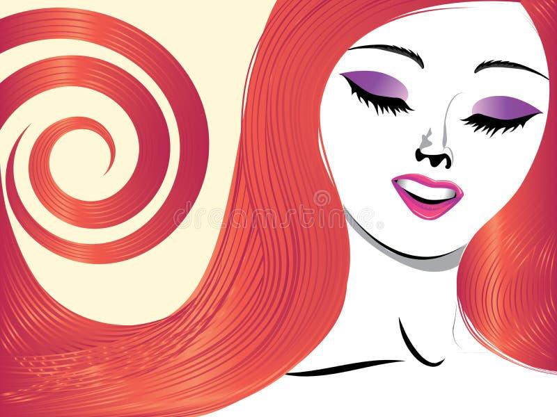Dziewczyna z czerwonym włosy i zamykającymi oczami ilustracji