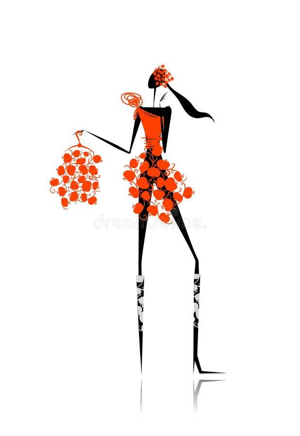 Dziewczyna z czerwonymi jabłkami ubiera dla twój projekta ilustracja wektor