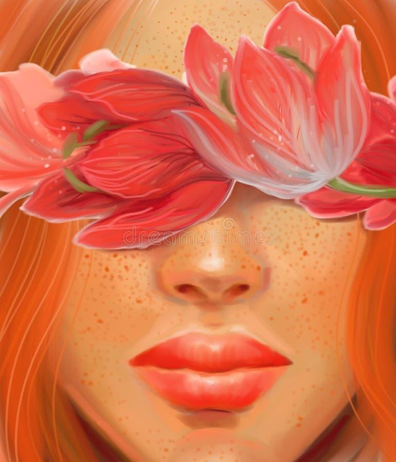 Dziewczyna z czerwonymi włosianych i kwiatów tulipanami na ślubnym temacie w stylu obrazu olejnego obrazy royalty free