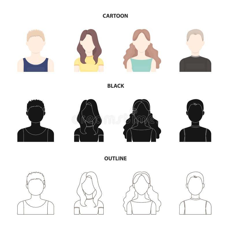 Dziewczyna z długie włosy, blond, kędzierzawym, z włosami mężczyzna, Avatar ustalone inkasowe ikony w kreskówce, czerń, konturu s ilustracja wektor