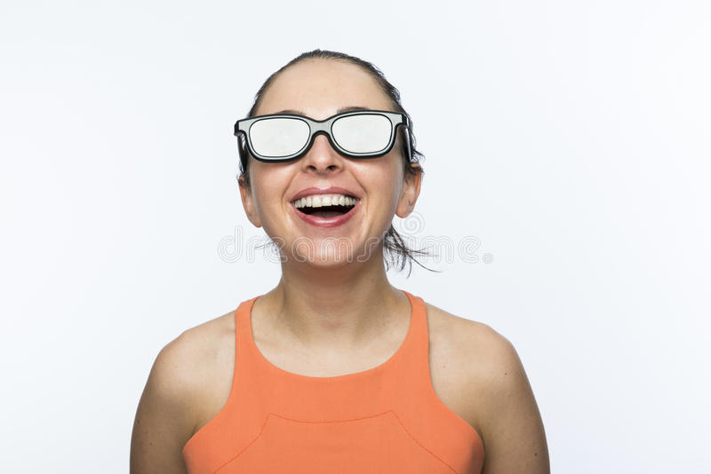 Dziewczyna z 3D szkłami zdjęcie royalty free
