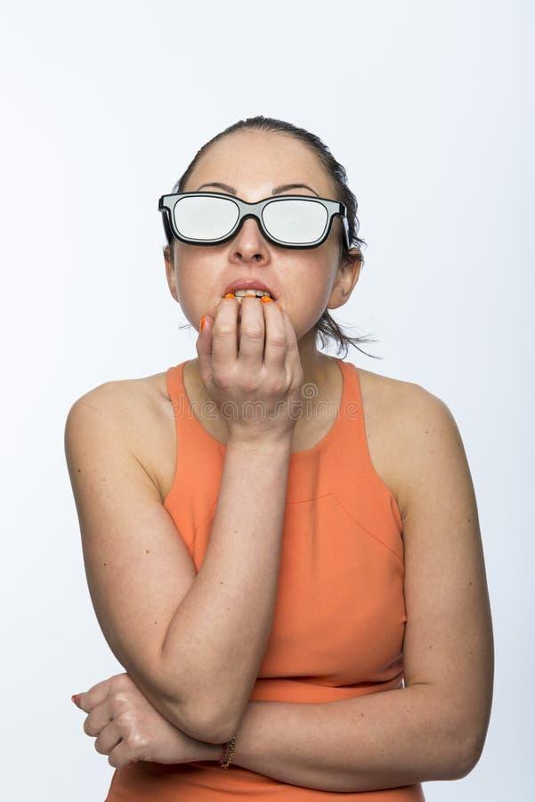 Dziewczyna z 3D szkłami obraz stock