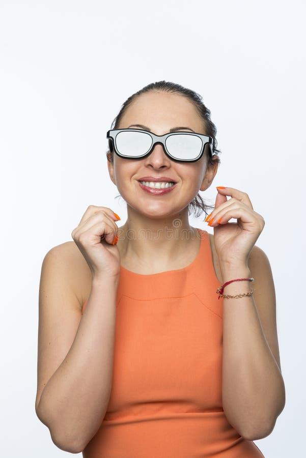 Dziewczyna z 3D szkłami fotografia stock