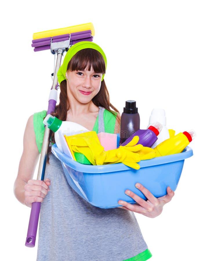 Dziewczyna z detergentami i kwaczem zdjęcia royalty free