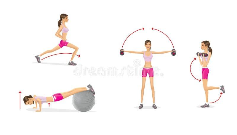 Dziewczyna z dumbbells trenować Pokrzepiający mięśnie ręki Ups na fitball klatka piersiowa i Lunges cieki pierwszy ilustracji