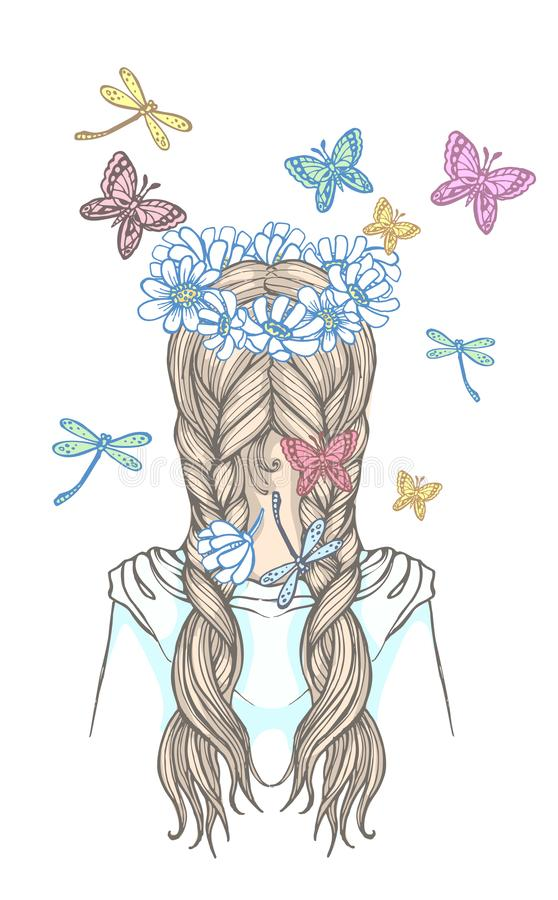 Dziewczyna z dwa warkoczami i wianek kwiaty, otaczający trzepotliwymi motylami Ręka rysująca wektorowa kontur ilustracja royalty ilustracja
