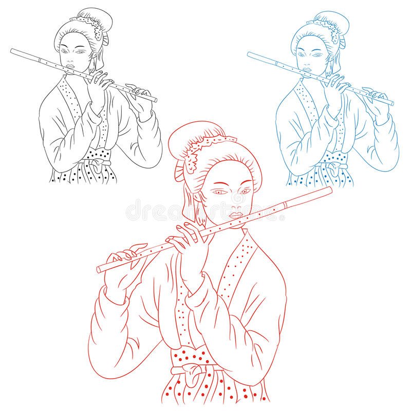 Dziewczyna z fletem Japan, sylwetka na białym tle ilustracji