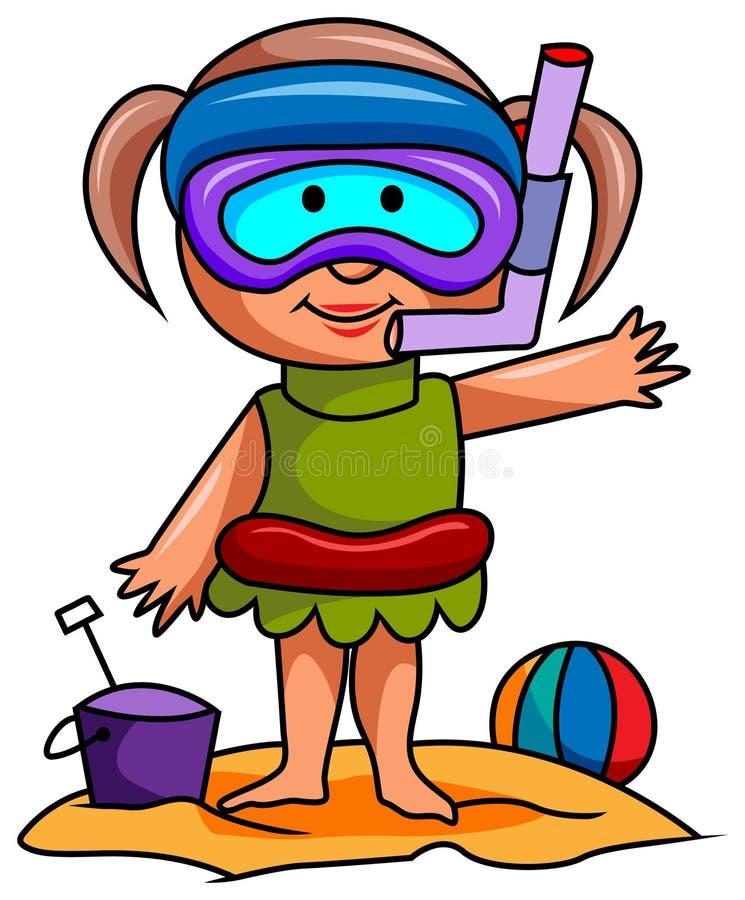 Dziewczyna z jej snorkel wyposażeniem royalty ilustracja
