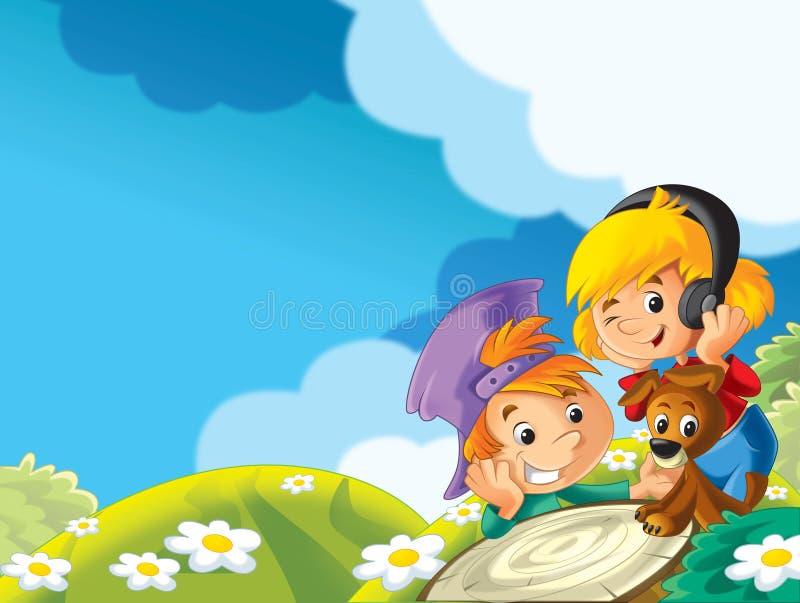 Download Dziewczyna Z Jej Zwierzęcym Przyjacielem Na łące - Słuchający Zwiedzać I Muzyka Ilustracji - Ilustracja złożonej z słucha, szczęśliwy: 28974962