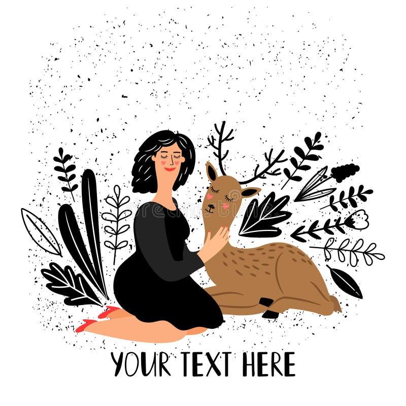 Dziewczyna z jelenim zwierzęciem royalty ilustracja