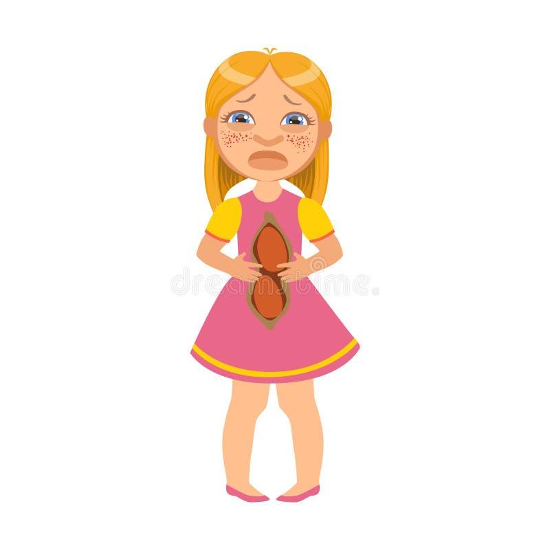 Dziewczyna Z kaleczenie brzuchem, Chorym dzieciaka Czuć Cierpiącym Przez choroby, częścią dzieci I problem zdrowotny seriami, ilustracji