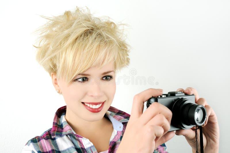 Dziewczyna z kamerą zdjęcia royalty free
