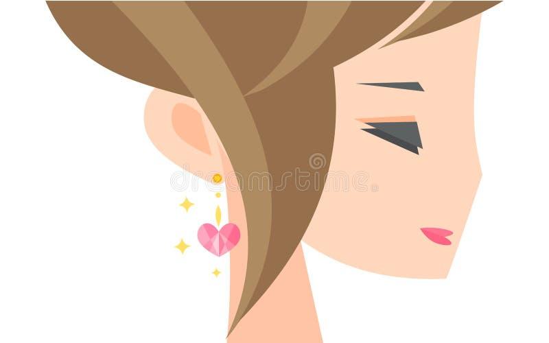 Dziewczyna z kolczykiem ilustracja wektor