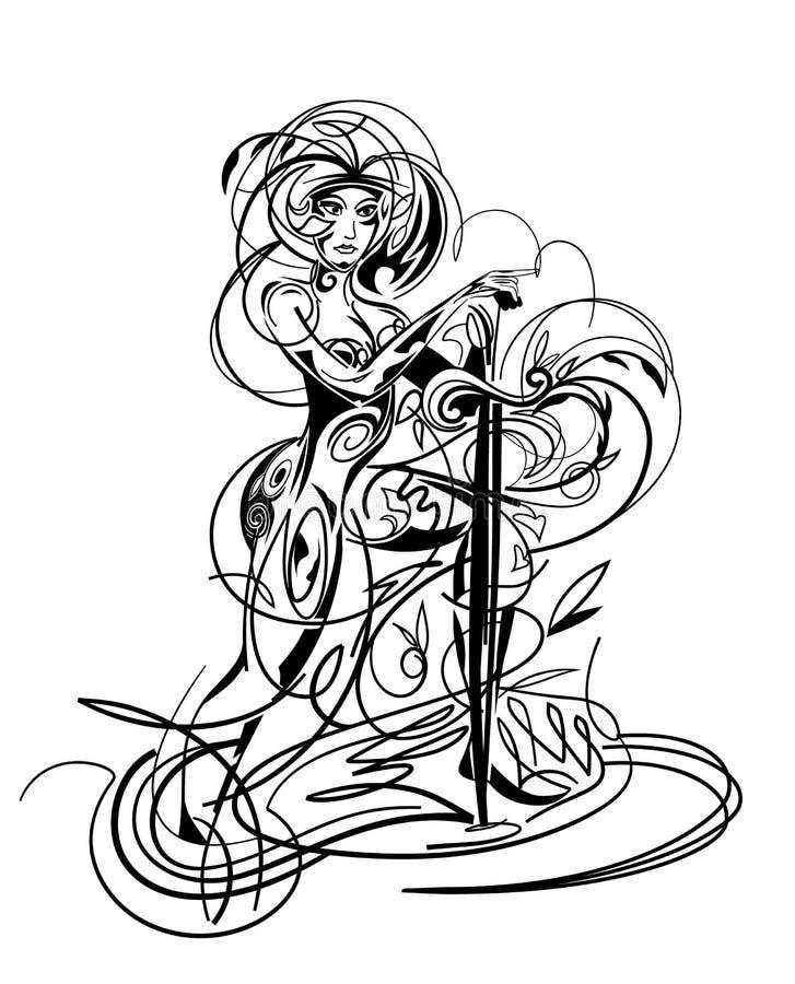 Dziewczyna z kordzikiem royalty ilustracja
