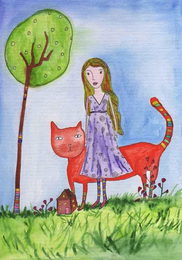 Dziewczyna z kotem ilustracji