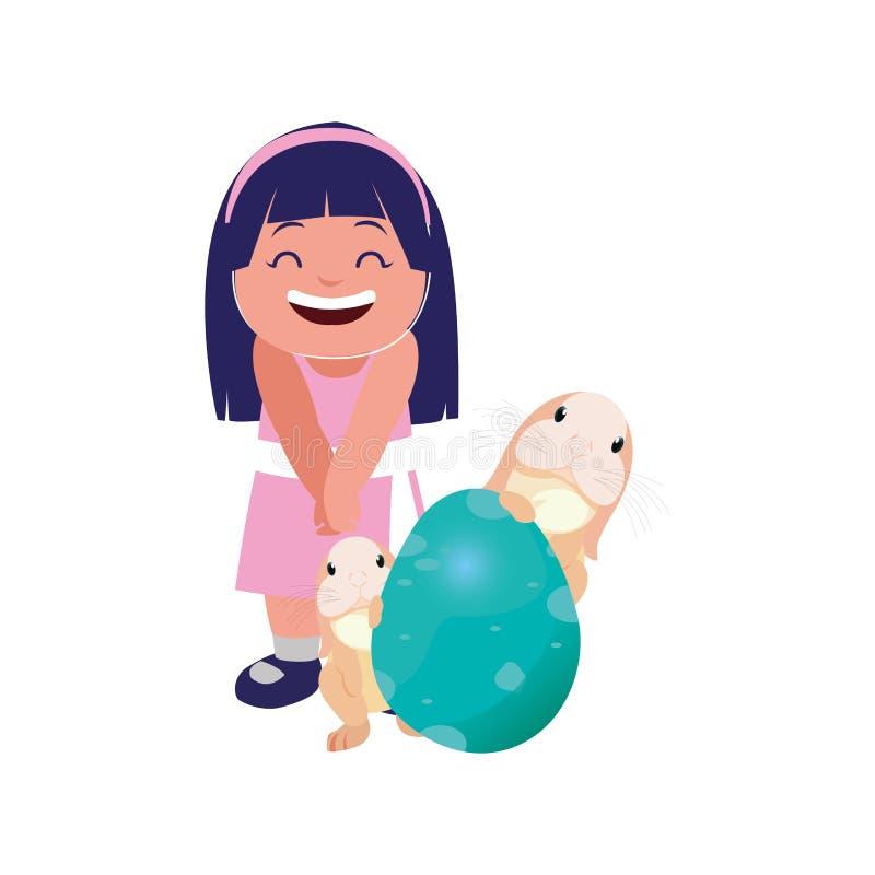 Dziewczyna z królikami i jajecznym Easter ilustracji