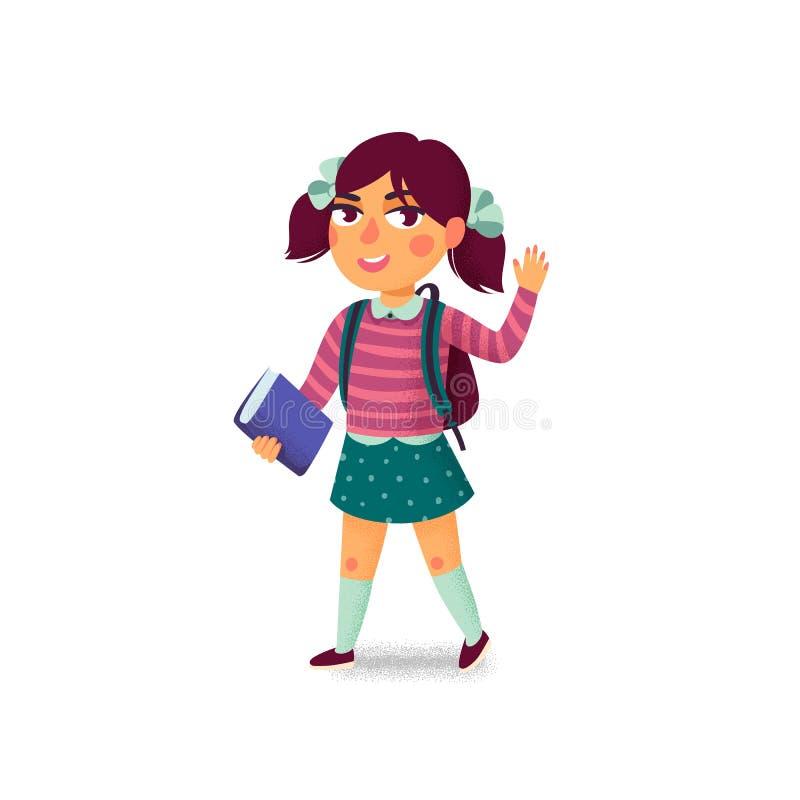Dziewczyna z książką i plecakiem na białym tle szczęśliwy ucznia Szkoła podstawowa uczeń Rozochocona młoda dama Popiera ilustracja wektor