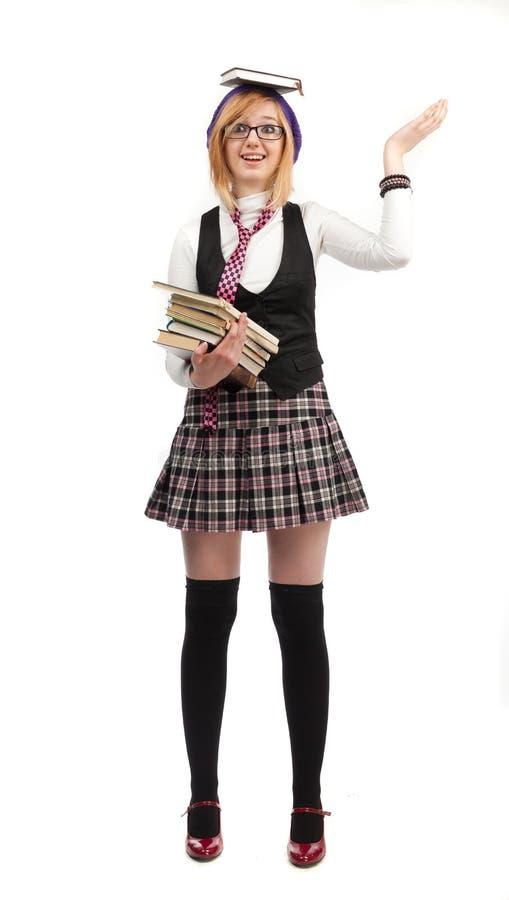 Download Dziewczyna z książkami obraz stock. Obraz złożonej z śliczny - 28952405