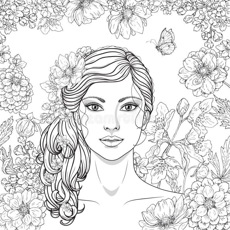 Dziewczyna z kwiatami i motylem ilustracja wektor