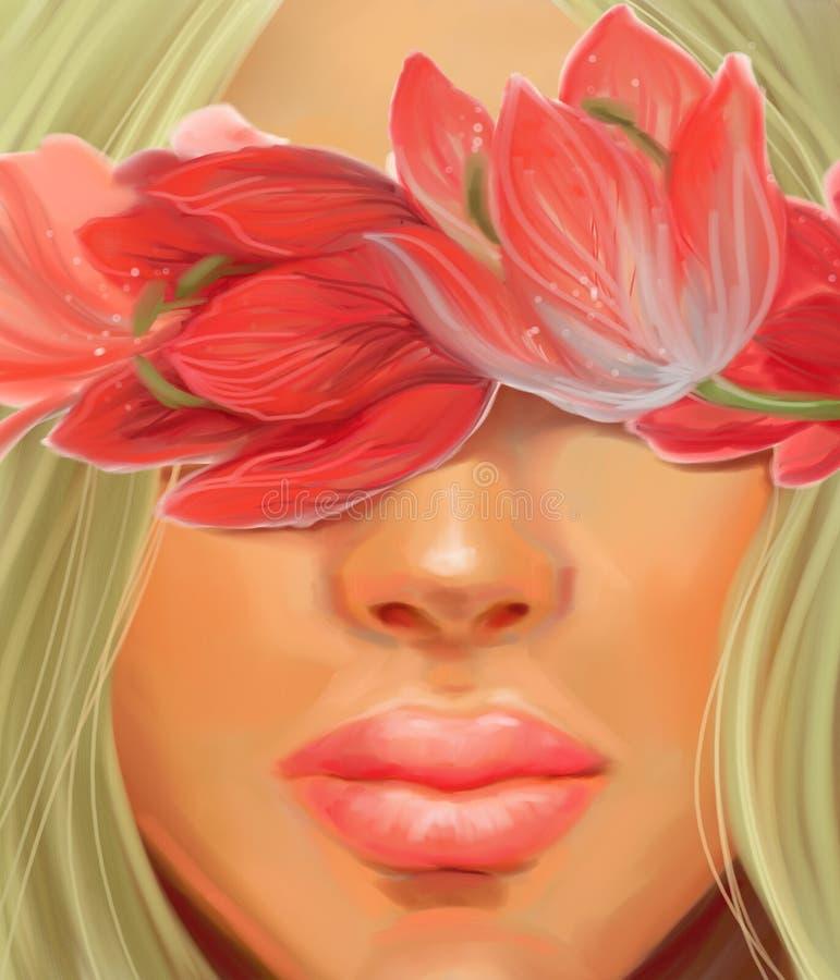 Dziewczyna z kwiatami na ślubnym temacie w stylu obrazu olejnego obraz stock