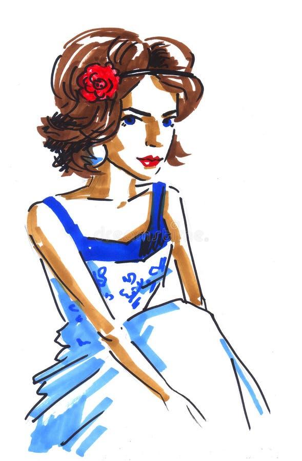 Dziewczyna z kwiatem ilustracja wektor