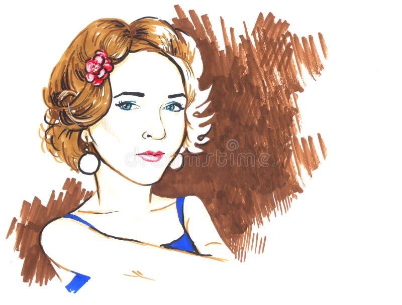 Dziewczyna z kwiatem w włosy ilustracji