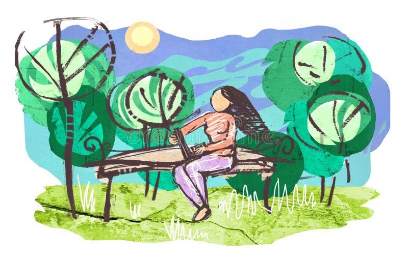 Dziewczyna z laptopu obsiadaniem na drewnianej ławce w parku royalty ilustracja