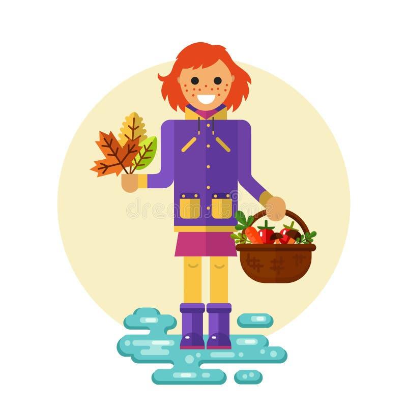 Dziewczyna z liśćmi i koszem ilustracja wektor