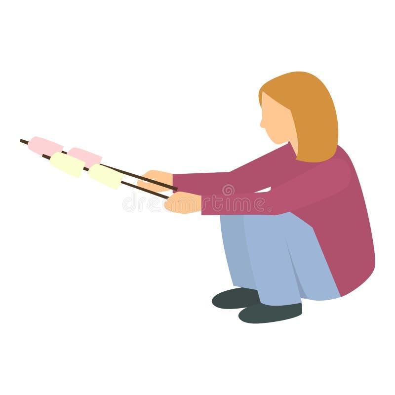Dziewczyna z marshmallow wtyka ikonę, mieszkanie styl ilustracji