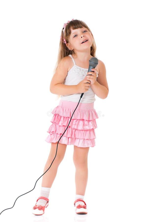 Dziewczyna z mikrofonem obrazy royalty free