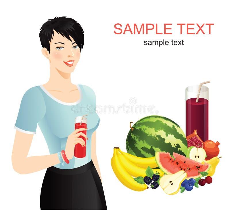 Dziewczyna z napoju i warzywa setem ilustracji