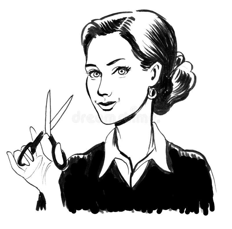 Dziewczyna z nożyce royalty ilustracja