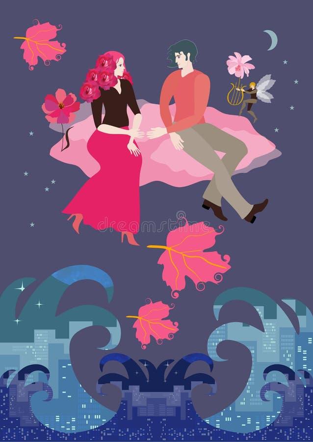 Dziewczyna z ostrzyżeniem w postaci bukieta spódnica, chłopak i latamy na menchii chmurze w nocnym niebie ilustracji
