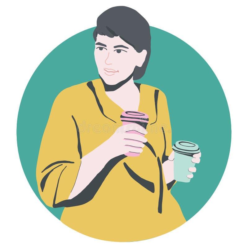 Dziewczyna z papierowymi coffe filiżankami ilustracji