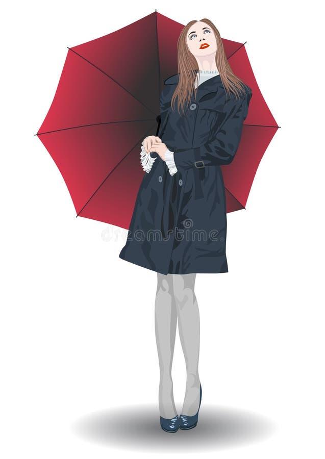 Dziewczyna z parasola czerwonymi spojrzeniami przy niebem ilustracja wektor
