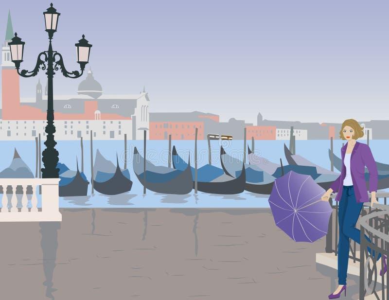 Dziewczyna z parasolem w Wenecja ilustracja wektor